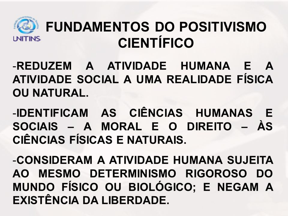 FUNDAMENTOS DO POSITIVISMO CIENTÍFICO