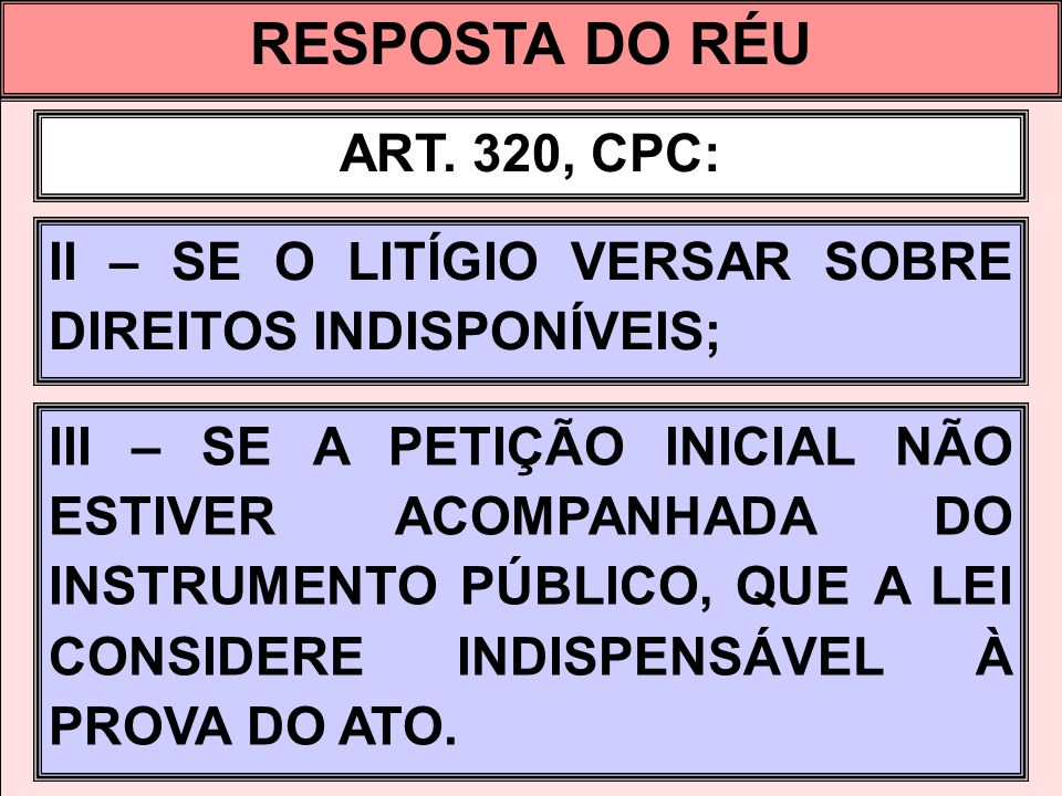 RESPOSTA DO RÉU ART. 320, CPC: