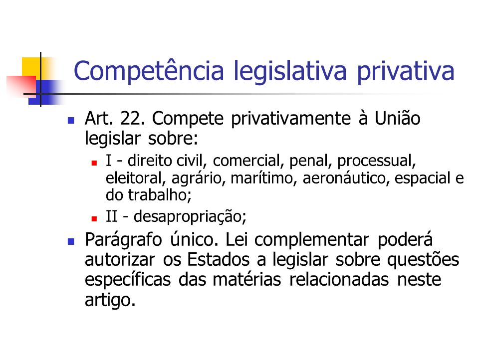 Competência legislativa privativa