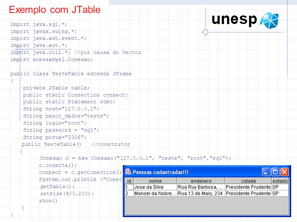 Exemplo com JTable import java.sql.*; import javax.swing.*;