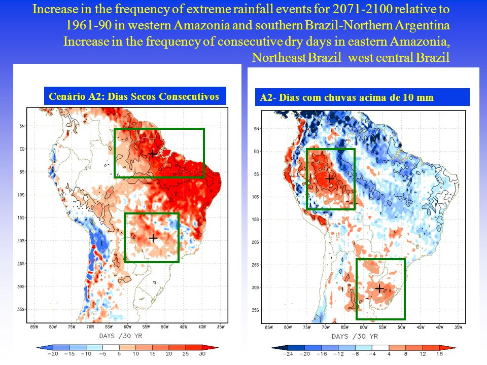 Increase in the frequency of extreme rainfall events for 2071-2100 relative to 1961-90 in western Amazonia and southern Brazil-Northern Argentina Increase in the frequency of consecutive dry days in eastern Amazonia, Northeast Brazil west central Brazil