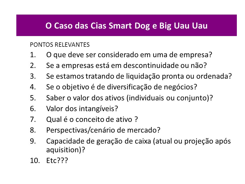 O Caso das Cias Smart Dog e Big Uau Uau