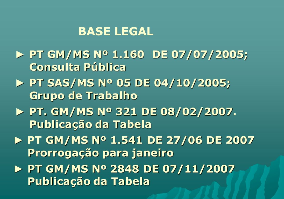BASE LEGAL ► PT GM/MS Nº DE 07/07/2005; Consulta Pública