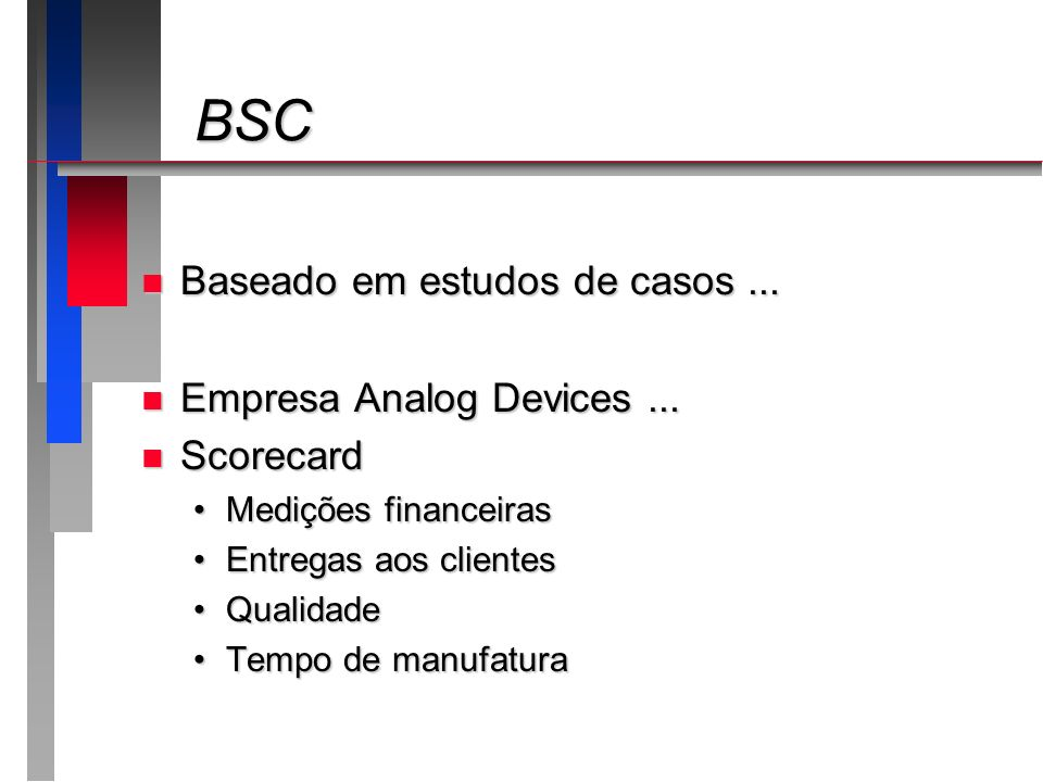 BSC Baseado em estudos de casos ... Empresa Analog Devices ...