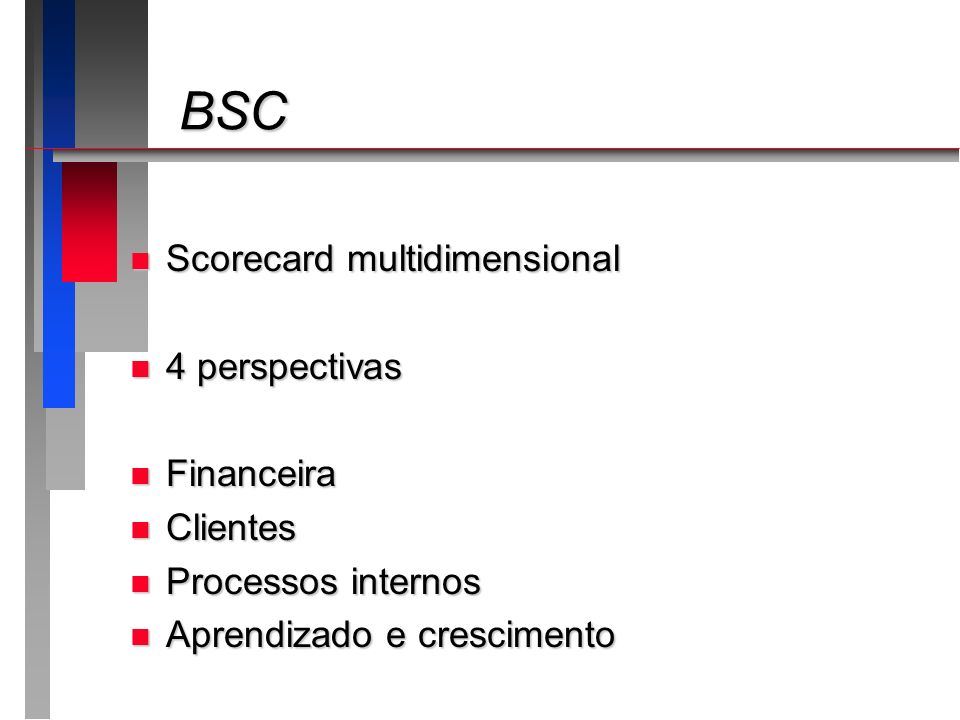 BSC Scorecard multidimensional 4 perspectivas Financeira Clientes