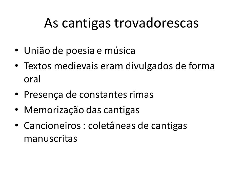 As cantigas trovadorescas