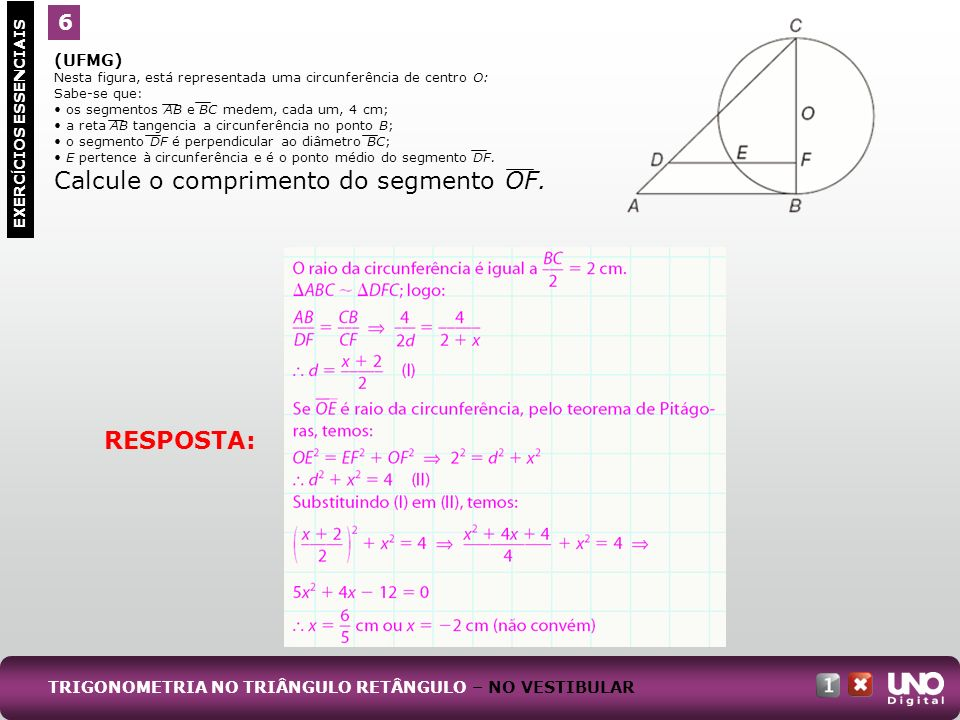 Calcule o comprimento do segmento OF.