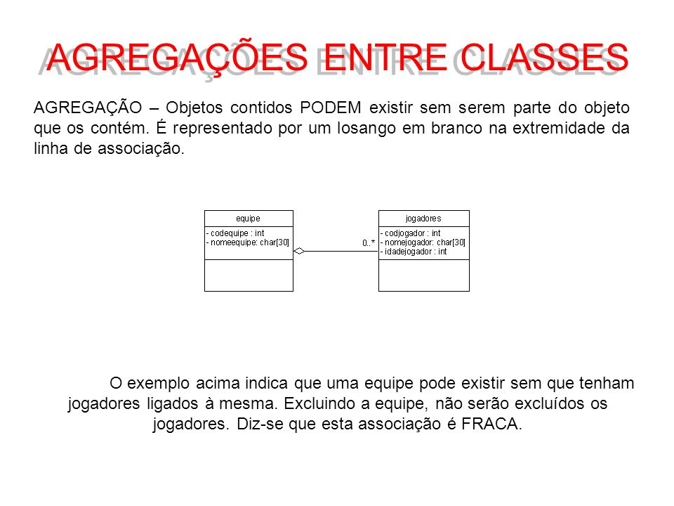 AGREGAÇÕES ENTRE CLASSES