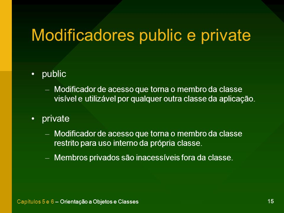 Modificadores public e private