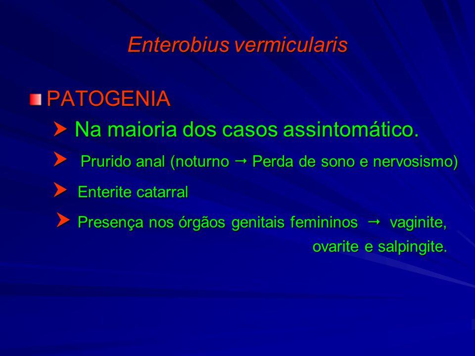 Enterobiasis fisiopatologia, Enterobius vermicularis gpc. Prezinta RMN de viermi