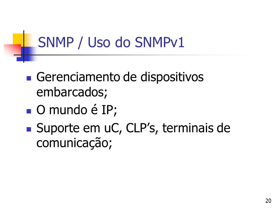 SNMP / Uso do SNMPv1 Gerenciamento de dispositivos embarcados;