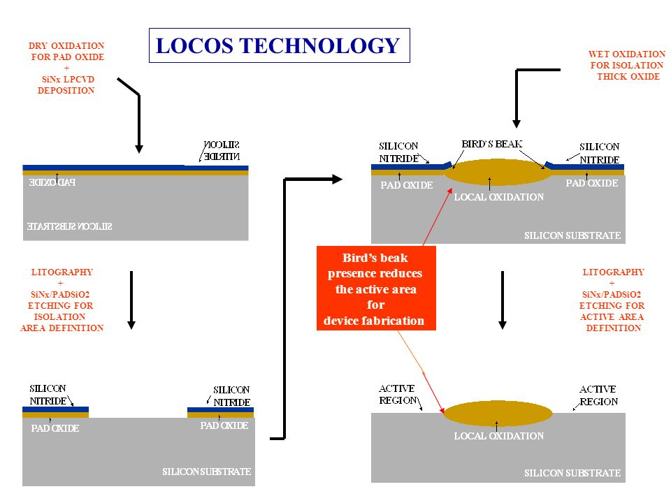LOCOS TECHNOLOGY Bird's beak presence reduces the active area for