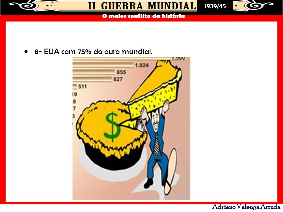 8- EUA com 75% do ouro mundial.