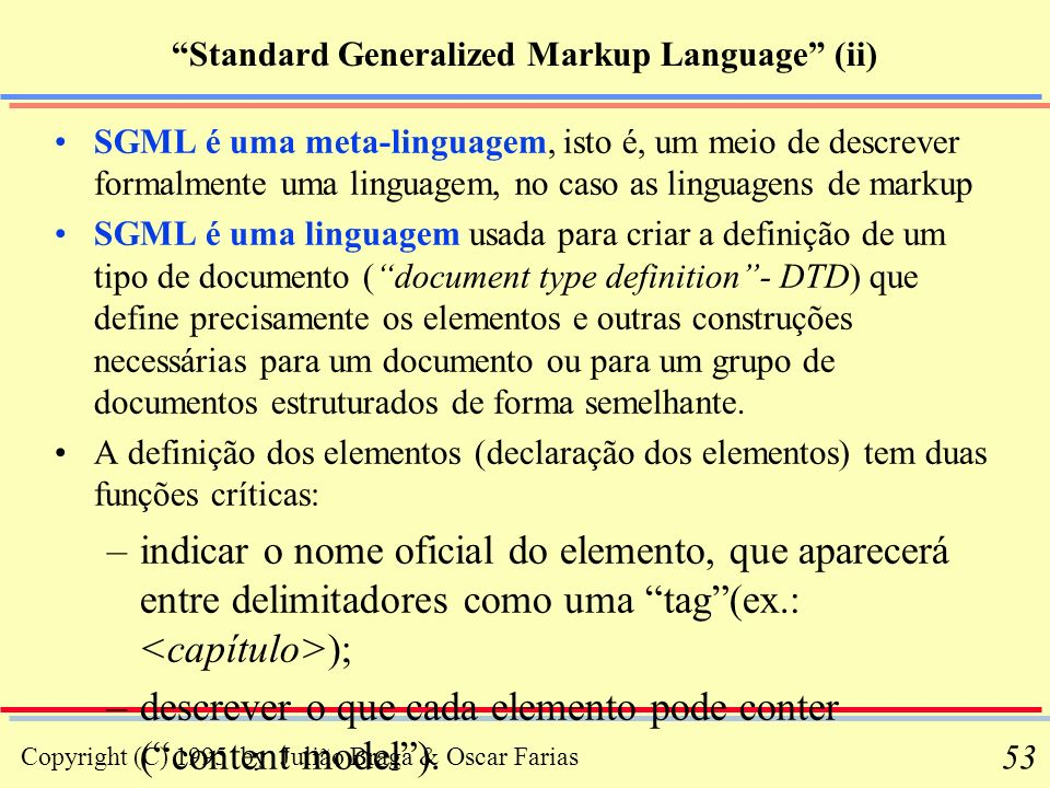 Standard Generalized Markup Language (ii)
