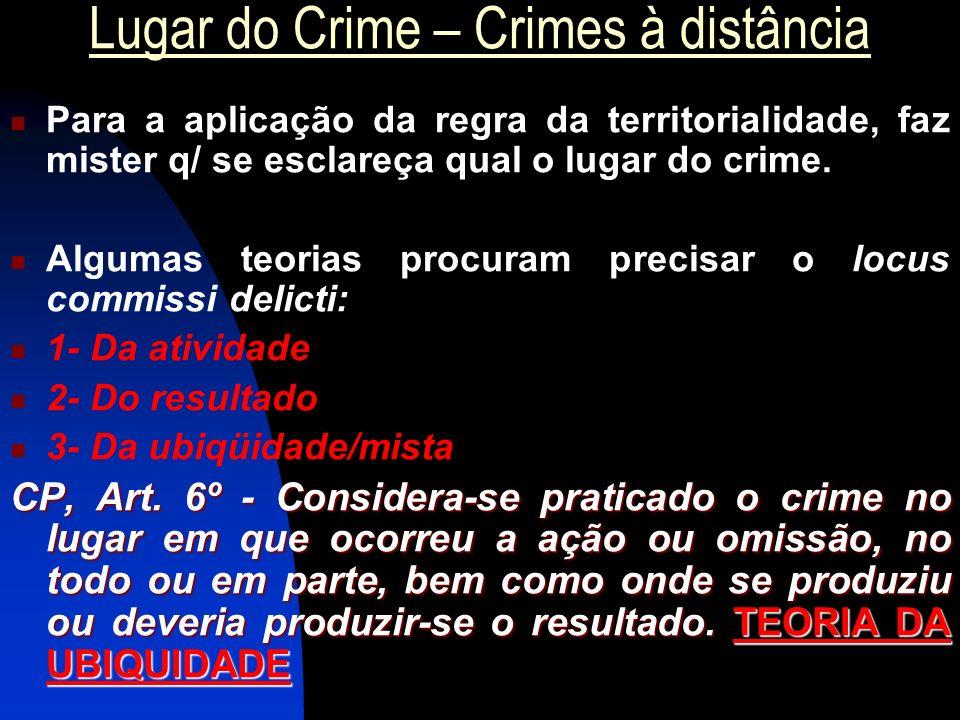 Lugar do Crime – Crimes à distância