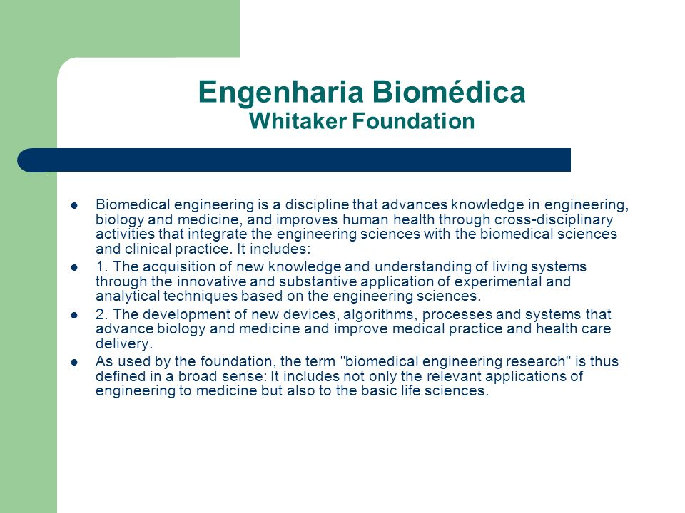 Engenharia Biomédica Whitaker Foundation