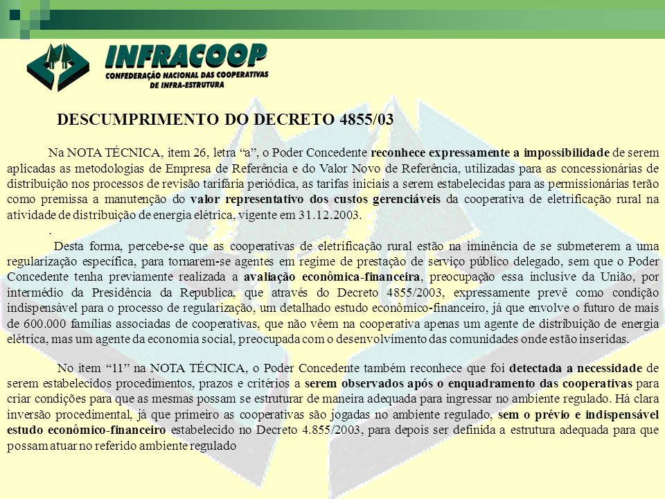 DESCUMPRIMENTO DO DECRETO 4855/03