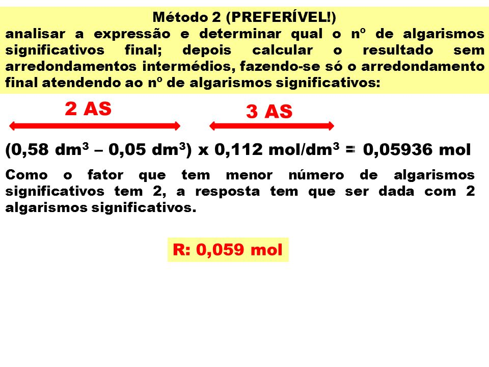 2 AS 3 AS (0,58 dm3 – 0,05 dm3) x 0,112 mol/dm3 = 0,05936 mol