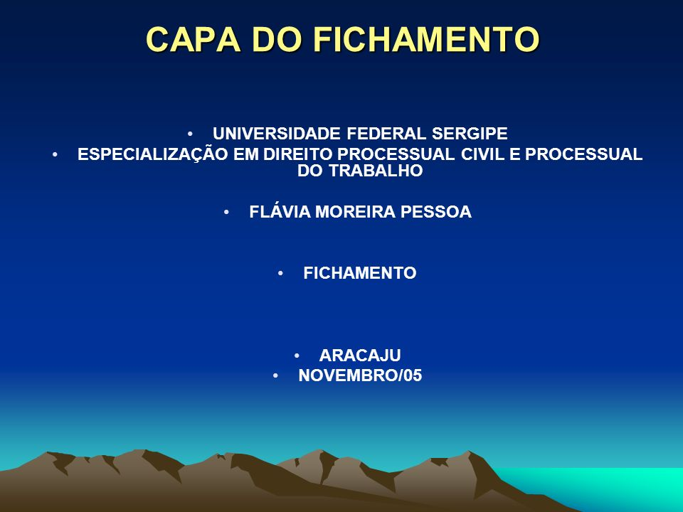 CAPA DO FICHAMENTO UNIVERSIDADE FEDERAL SERGIPE