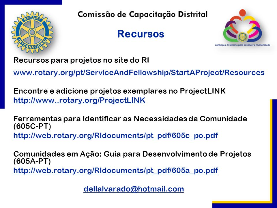 Recursos para projetos no site do RI