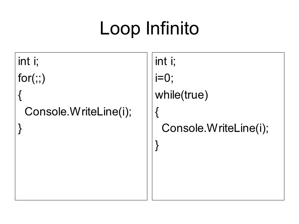 Loop Infinito int i; for(;;) { Console.WriteLine(i); } int i; i=0;