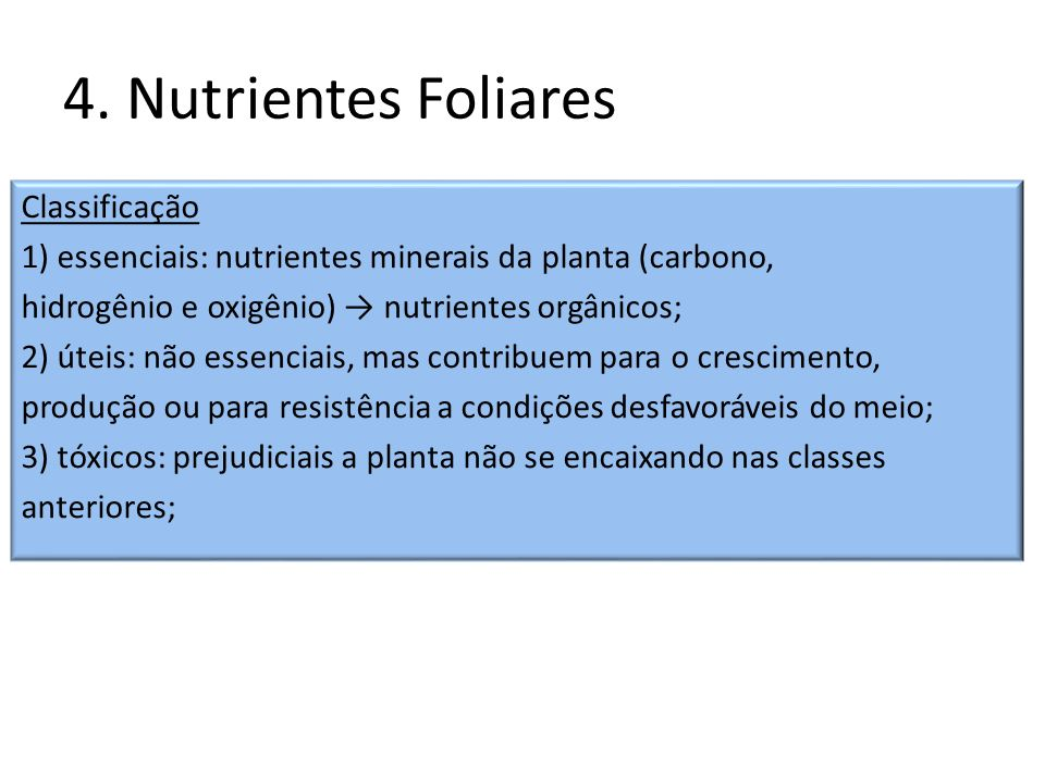 4. Nutrientes Foliares