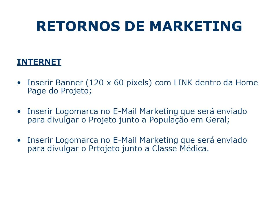 RETORNOS DE MARKETING INTERNET
