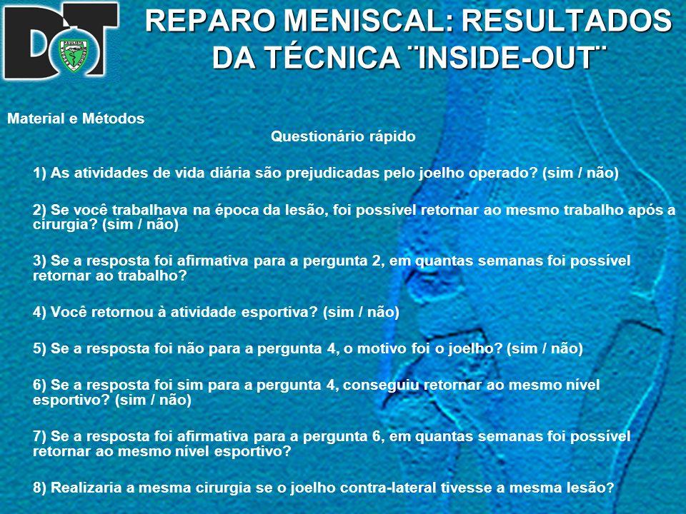 REPARO MENISCAL  RESULTADOS DA TÉCNICA ¨INSIDE-OUT¨ - ppt carregar 22837d49ea