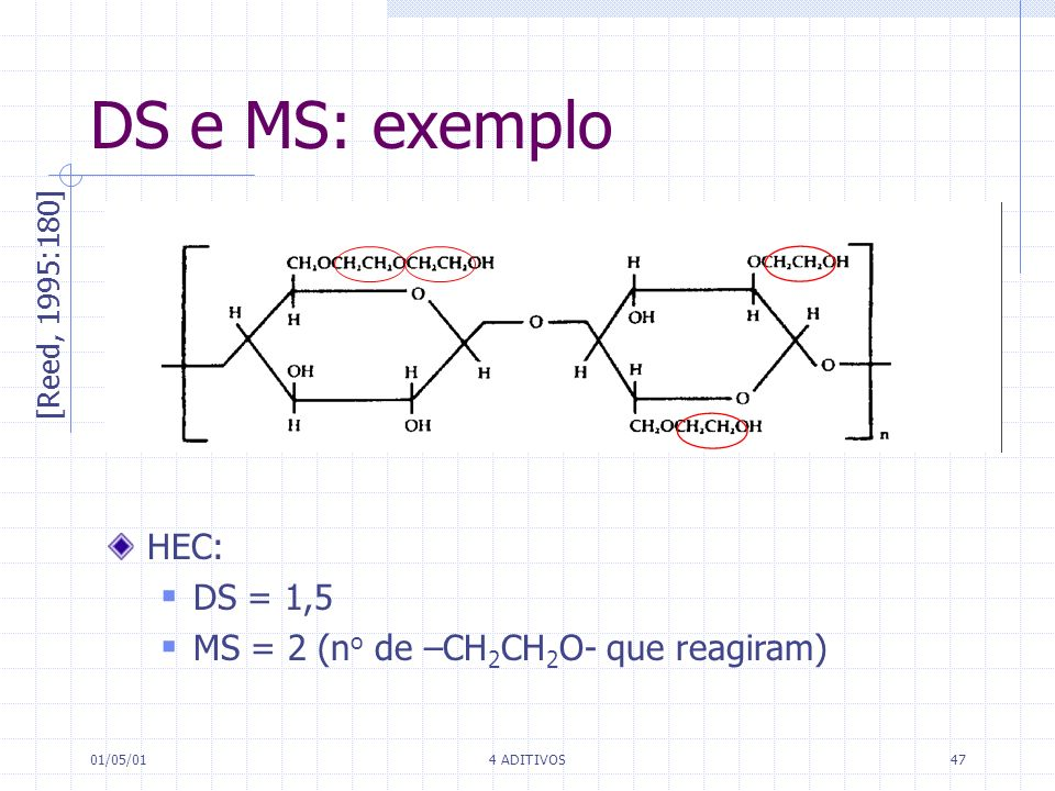 DS e MS: exemplo HEC: DS = 1,5 MS = 2 (no de –CH2CH2O- que reagiram)