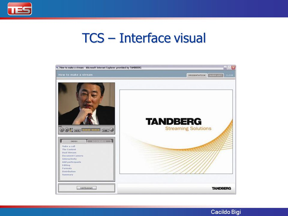 TCS – Interface visual Cacildo Bigi