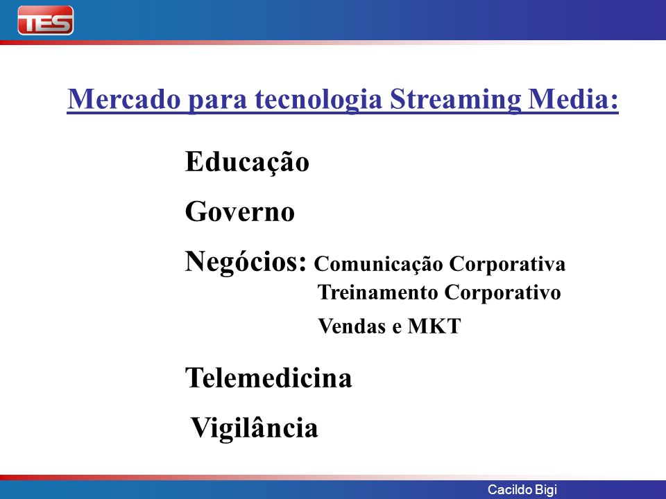 Mercado para tecnologia Streaming Media: