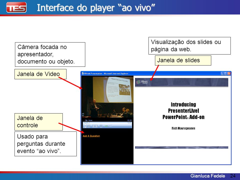 Interface do player ao vivo
