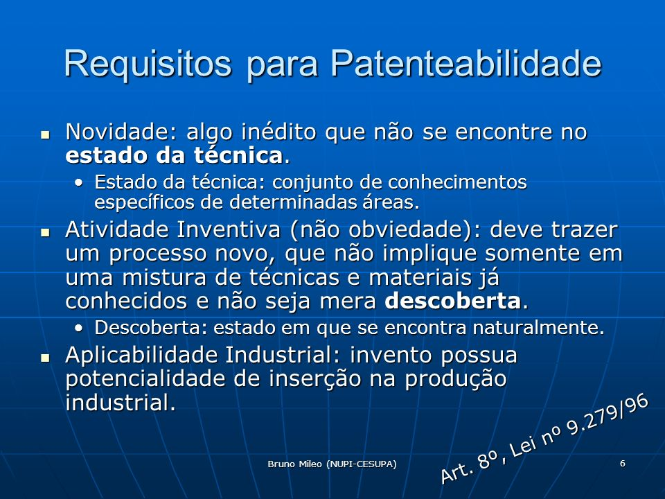 Requisitos para Patenteabilidade