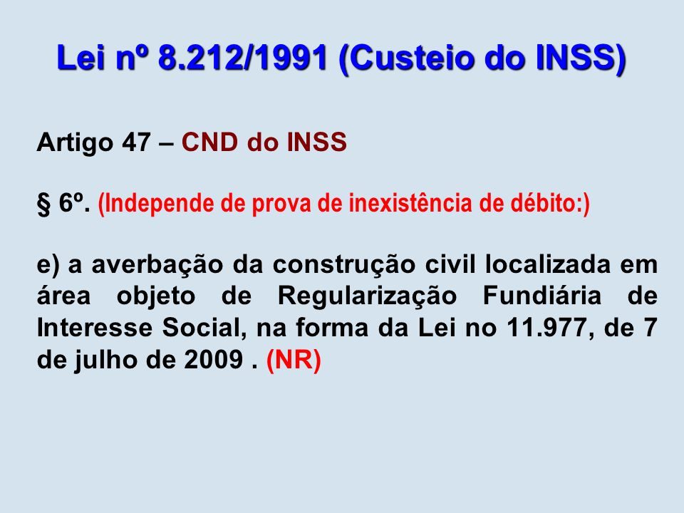 Lei nº 8.212/1991 (Custeio do INSS)