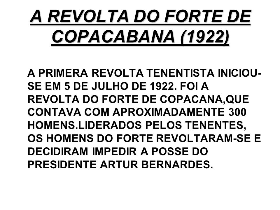 A REVOLTA DO FORTE DE COPACABANA (1922)