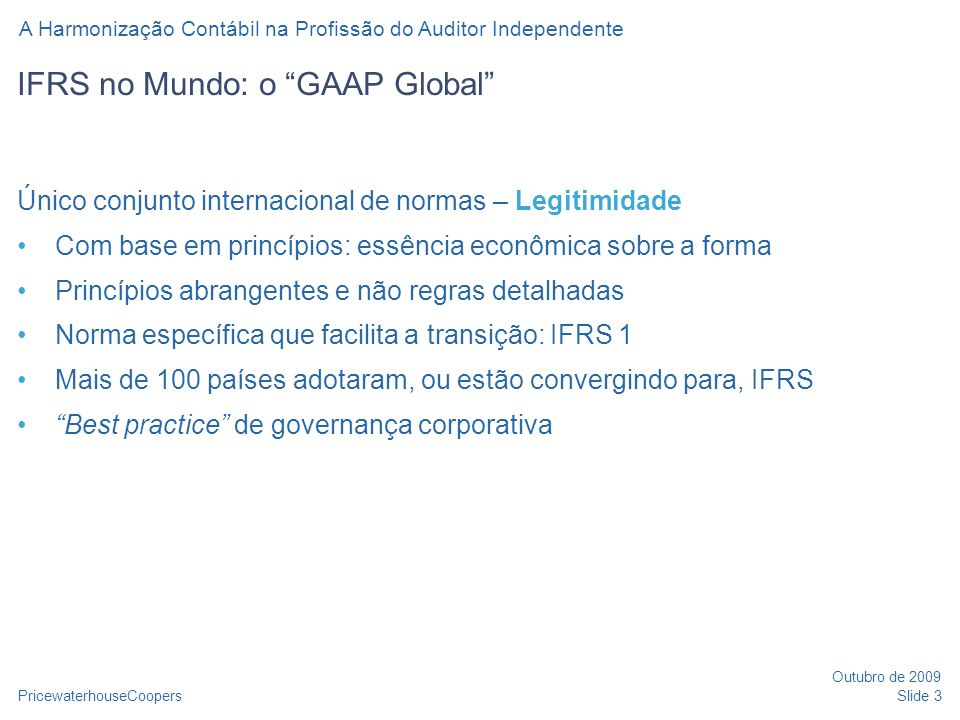 IFRS no Mundo: o GAAP Global