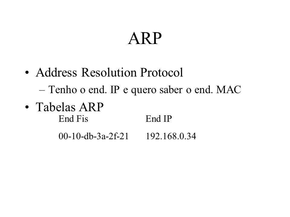 ARP Address Resolution Protocol Tabelas ARP