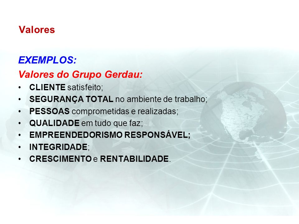 Valores do Grupo Gerdau: