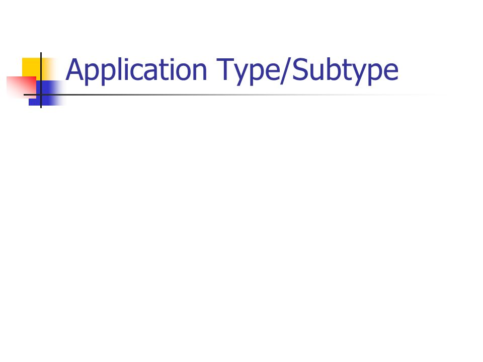 Application Type/Subtype