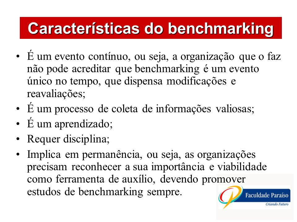Características do benchmarking