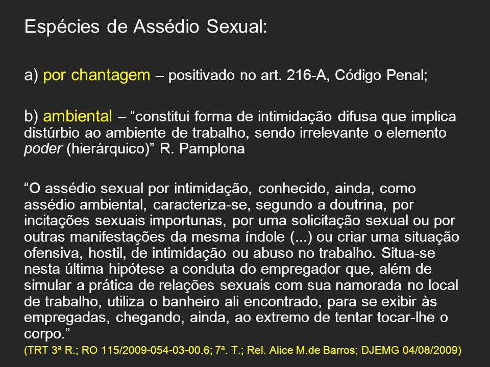 Espécies de Assédio Sexual: