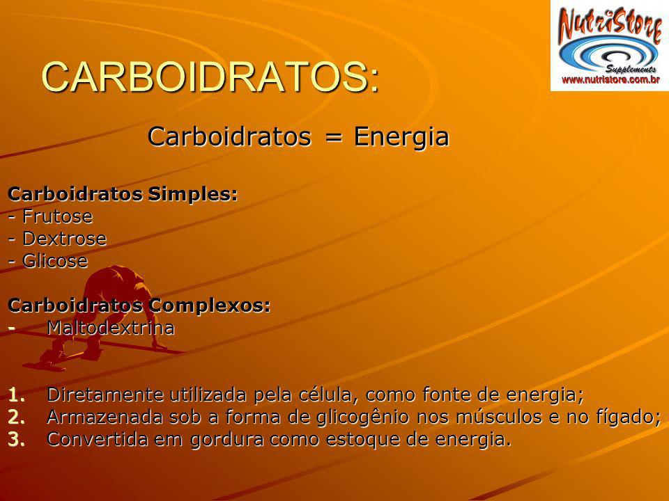 CARBOIDRATOS: Carboidratos = Energia Carboidratos Simples: - Frutose