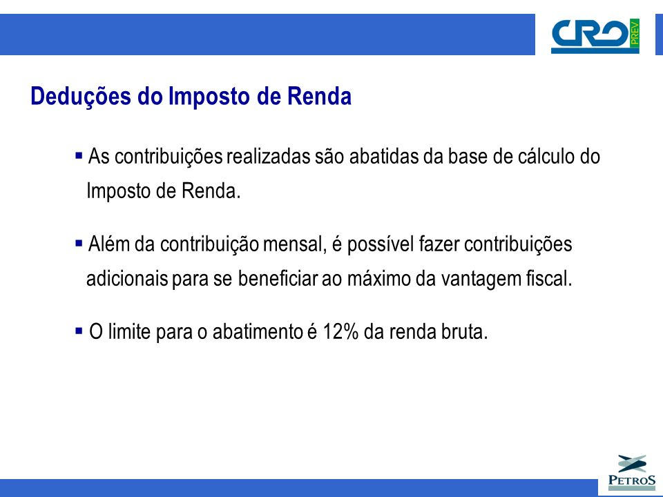 Deduções do Imposto de Renda