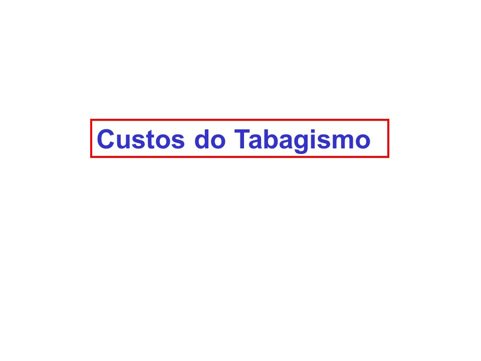 Custos do Tabagismo