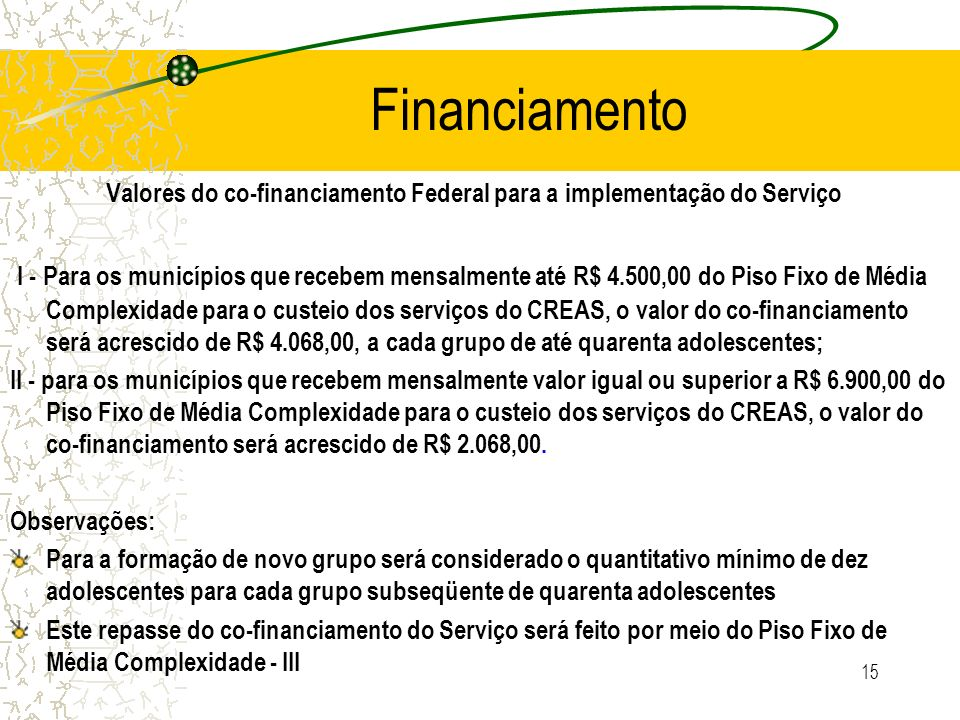 Financiamento Valores do co-financiamento Federal para a implementação do Serviço.