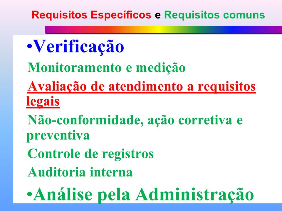 Requisitos Específicos e Requisitos comuns