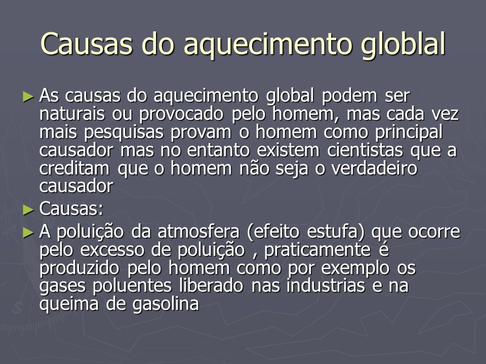 Causas do aquecimento globlal