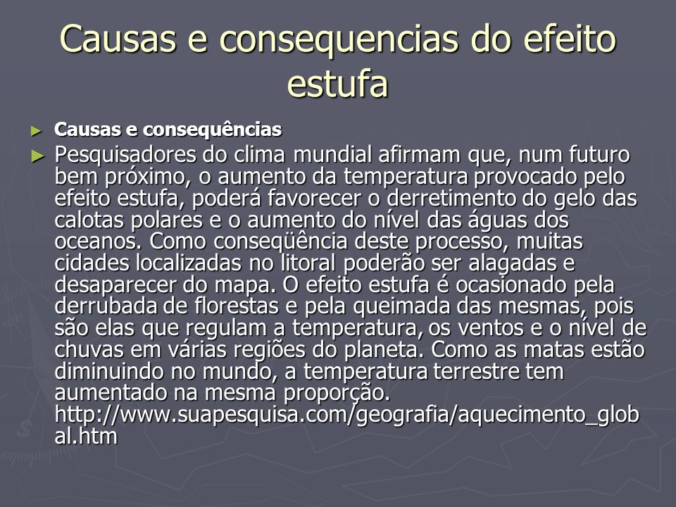 Causas e consequencias do efeito estufa