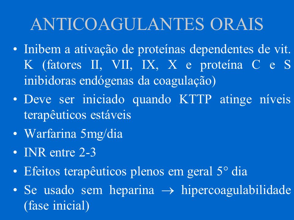 ANTICOAGULANTES ORAIS