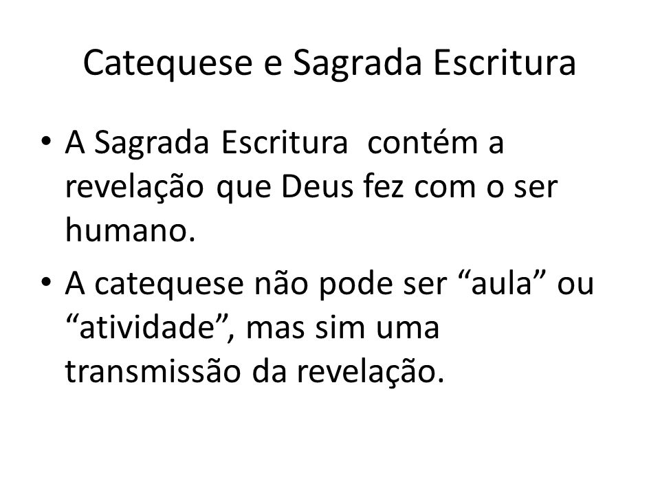 Catequese e Sagrada Escritura